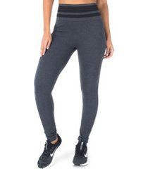 calça legging oxer sem costura fit - feminina - cinza escuro/preto