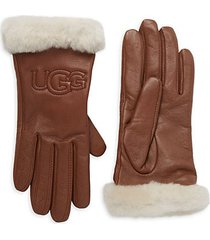 leather & shearling logo gloves