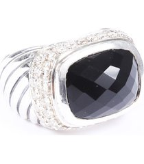 david yurman sterling silver diamond onyx ring black/silver sz: 6