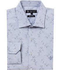camisa dudalina manga longa jacquard fio tinto masculina (cinza claro, 6)
