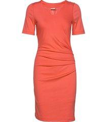 india v-neck ½ sleeve knälång klänning orange kaffe