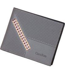cartera para hombre- cartera monedero billetera-gris