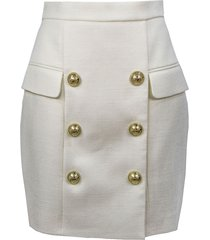 balmain short white skirt
