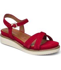 woms sandals shoes summer shoes flat sandals röd tamaris