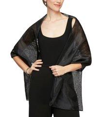 alex evenings rectangular organza shawl
