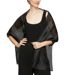 alex evenings rectangular organza shawl