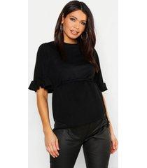 maternity frill sleeve tie waist top, black