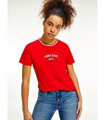 tommy hilfiger women's organic cotton timeless script t-shirt deep crimson - xxs