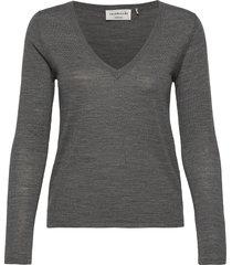 merino pullover ls stickad tröja grå rosemunde