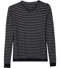 blusa dudalina manga longa tricot listrado pb masculina (preto, xgg)
