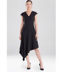 crepe asymmetrical dress, women's, black, size 6, josie natori