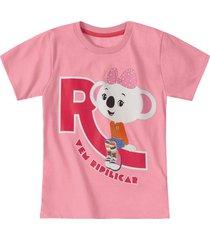 camiseta mundo ripilica - 11400086i - rosa - menina - dafiti