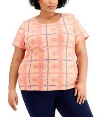 karen scott plus size lace-print plaid top, created for macy's
