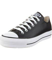 zapatilla negra converse chuck taylor all star platform leather
