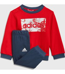 conjunto adidas performance i lin ft jog rojo - calce regular