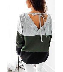 camicia a maniche lunghe con maniche lunghe color block a maniche lunghe per donna