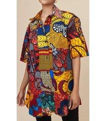 camicetta casual mezza manica con risvolto con bottoni con stampa vintage da donna