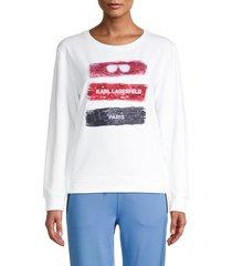 karl lagerfeld paris women's tricolor sequin graphic sweatshirt - black - size l