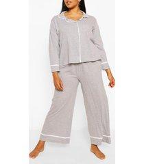 plus jersey pyjama set met lange mouwen en knopen, grijs