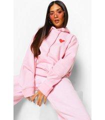 petite oversized hoodie met hartjes borstopdruk, light pink