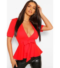 crêpe peplum top met laag decolleté, red