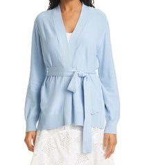 women's milly tie front sequin cardigan, size large - blue