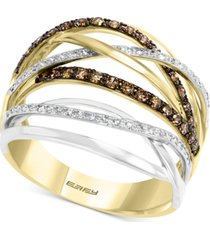 effy multi-color diamond crossover two-tone statement ring (1/2 ct. t.w.) in 14k gold and 14k white gold