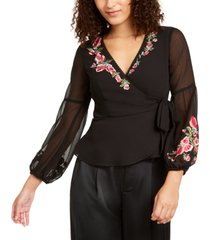 nanette lepore rosie embroidered wrap top, created for macy's