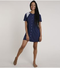 camisola feminina com botões e renda manga curta azul marinho