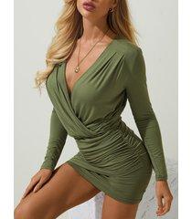 plunge cuello wrap fruncido mini vestido