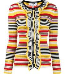 msgm striped ruffled cardigan - yellow