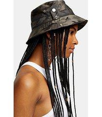 camouflage popper bucket hat - khaki