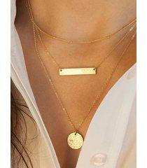 collar de múltiples capas con colgante de monedas geométricas doradas