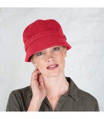 red wool flapper cap