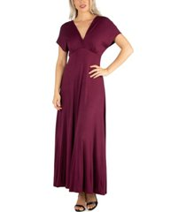 24seven comfort apparel women's cap sleeve v neck maxi dress