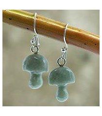 jade dangle earrings, 'dancing mushrooms' (guatemala)