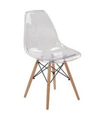 cadeira eif.s/br pc transparente base madeira rivatti