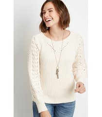 maurices womens chenile pointelle sleeve pullover sweater white