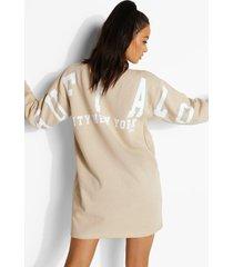 varsity sweatshirt jurk met rugopdruk, sand