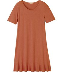 jersey jurk met korte mouw en volantzoom, klei 46