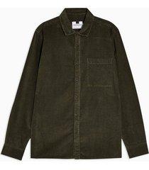 mens khaki one pocket corduroy slim shirt