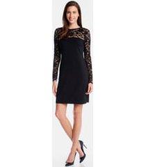 women's karen kane blake long sleeve lace cocktail dress, size small - black