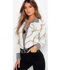 contrasterende geo- en kettingprint blouse, wit