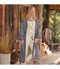 sundance catalog women's empress robe in blue xs/s