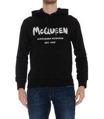alexander mcqueen mcqueen graffiti logo hoodie