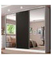 guarda roupa casal 100% mdf madesa royale 3 portas de correr com espelhos - branco/preto