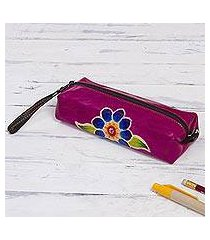 leather pencil case, 'cusco bloom' (peru)