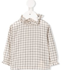 caramel victoria checked blouse - neutrals