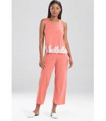 natori luxe shangri-la sleeveless pajamas, women's, pink, size l natori