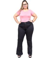 calça jeans mc2 plus size flare jizaelia preta - kanui